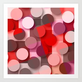 dots & squares red Art Print