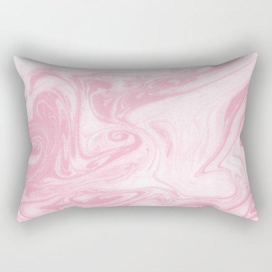Chou - rose quartz marbled paper japanese paper marbling art print abstract ink painting swirl ocean Rectangular Pillow