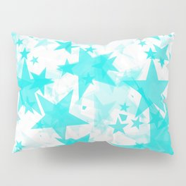 Bright blue iridescent stars on a light background in the projection. Pillow Sham