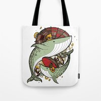 whales Tote Bags featuring Whales by green penguin