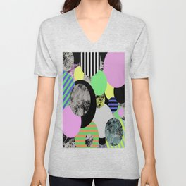 Cluttered Circles - Abstract, Geometric, Pop Art Style Unisex V-Neck