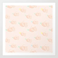 Birds en peach Art Print