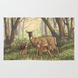 Whitetail Doe and Cute Twin Fawns Rug