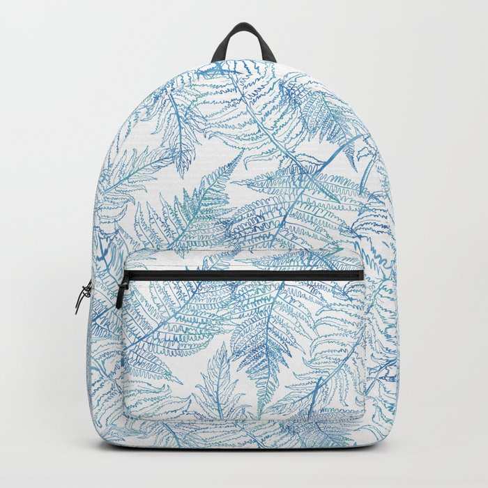 Fern Silhouette Blue Backpack