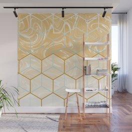 Geometric Effect Caramel Marble Design Wall Mural