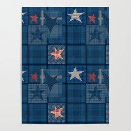 Blue denim patchwork . Poster