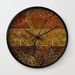 Tribal  Gold Pattern on Brown Paint Wall Clock