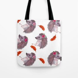 Hedgehog and fall leaves , autumn flowers Tote Bag