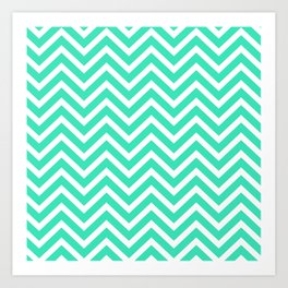 Chevron Pattern - Mint and White Art Print