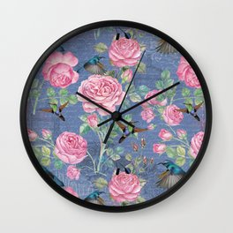 Vintage Watercolor hummingbird and English Roses on blue Background Wall Clock