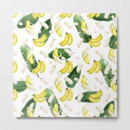 Banana y hoja de plátano acuarela Metal Print