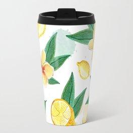 Floral Lemon Splash Travel Mug