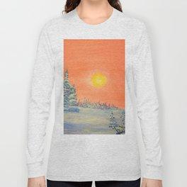 winter trees snow and sun . art Long Sleeve T-shirt