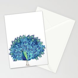 Peacock - Green and BLUE Stationery Cards