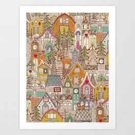 vintage gingerbread town Art Print