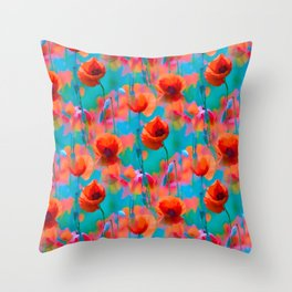 BLOOMING POPPIES PATTERN III Throw Pillow