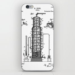 Whisky Patent - Whisky Still Art - Black And White iPhone Skin