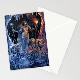 Two of Wands - Woman & Wolves Stationery Cards