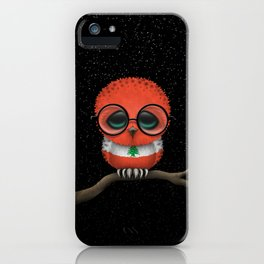 Baby Owl with Glasses and Lebanese Flag iPhone Case