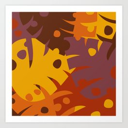 Colorful Graphic Autumn Leaves Art Print