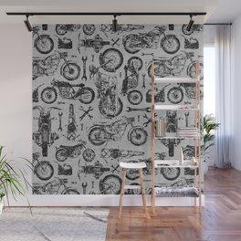 Vintage Motorcycle Pattern Wall Mural