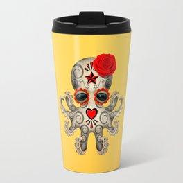 Red Day of the Dead Sugar Skull Baby Octopus Travel Mug
