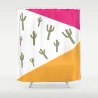 cactus Shower Curtains featuring Cactus by bluebutton studio