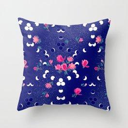 Magnolias in space Throw Pillow