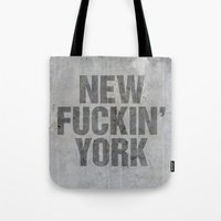 tupac Tote Bags featuring New York by Text Guy