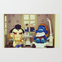 dentist Area & Throw Rugs featuring Nightmare at the Dentist by Arwan Mauriattama