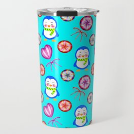 Funny happy smiling baby penguins and sweet vintage retro lollipops. Cute blue winter candy pattern Travel Mug