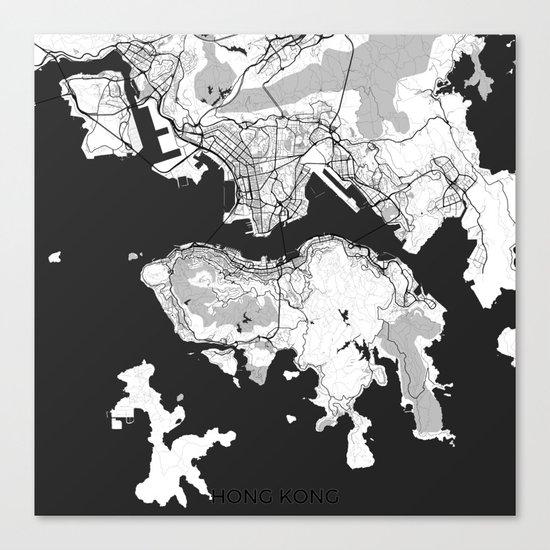 Hong Kong Map Gray Canvas Print