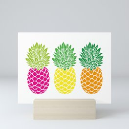 Pineapple Trio | Three Pineapples | Pineapple Silhouettes | Hot Pink | Yellow | Orange | Mini Art Print