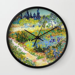 Vincent van Gogh - Garden At Arles, Flowering Garden With Path - Digital Remastered Edition Wall Clock
