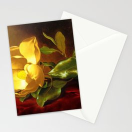 A Gold Yellow Magnolia on Red Velvet by Martin Johnson Head Stationery Cards