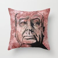 hitchcock Throw Pillows featuring Hitchcock by Colunga-Art