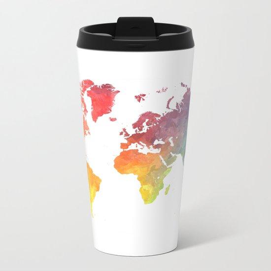 Map of the world colored Metal Travel Mug