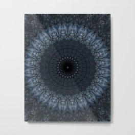 Dark and light blue mandala Metal Print