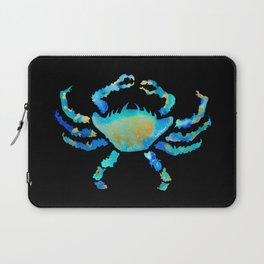 Craggy Blue Crab on Black Laptop Sleeve