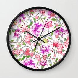 peony pattern Wall Clock