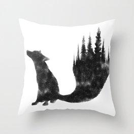 Black Fox Throw Pillow