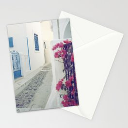 White Santorini Street Stationery Cards