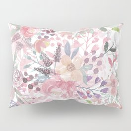 Pastel pink coral green watercolor flowers Pillow Sham