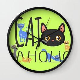 Cat-aholic Wall Clock