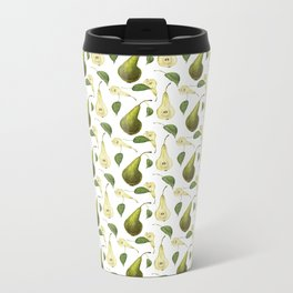 Watercolor seamless pattern with pears Conference and leaves. Botanical isolated illustration.  Metal Travel Mug