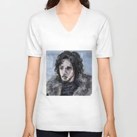 jon snow V-neck T-shirts featuring Jon Snow by amberandtigers
