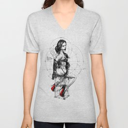 Love and Geometry. INK ART. Yury Fadeev Unisex V-Neck