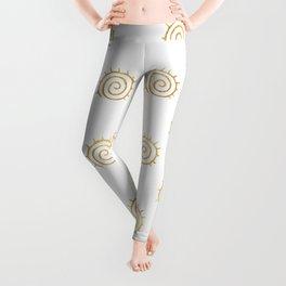 Gold Spiral Sun Pattern Leggings