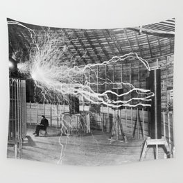 Nikola Tesla Vintage Photograph Double Exposure Electricity, 1889 Wall Tapestry