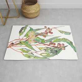 Watercolour eucalyptus tree branch with white flowers & gumnuts. Rug